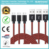 Colorido Nueva 1m tela de nylon trenzado de cable USB Micro USB cable de tela trenzada del cable del cargador