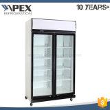 Dispositivo di raffreddamento commerciale della bevanda della visualizzazione del supermercato con il sistema superiore del compressore