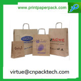 Kundenspezifischen flachen Griff-Papierträger-Beutel mit Firmenzeichen-Drucken aufbereiten