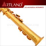 Sassofono professionale del soprano di rivestimento dorato chiave della lacca di Bb (ASS8506)
