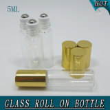 Rouleau en verre à bouteilles en acier inoxydable transparent de 5 ml sur bouteille