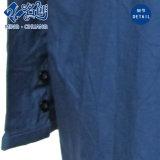 濃紺の長袖はカラーボタンの綿の快適な女性ブラウスを回す