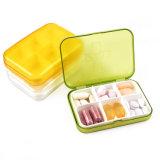 Caixa plástica do comprimido de 6 compartimentos para o armazenamento da medicina