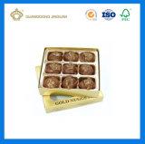 Boîte-cadeau de empaquetage de chocolat d'or de luxe de la carte 9PCS (avec le guichet et le diviseur)