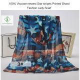 100%のビスコース最も新しい星の縞はショールの方法女性を印刷したScarf