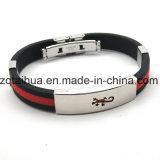 Wristband d'argento del silicone dell'acciaio inossidabile della glassa con Thb-057