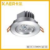Pequeñas luces de techo calientes ligeras del blanco 3X1w LED de Cabninet /Light Dimmable