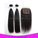 Волосы 100% сырцовые Unprocessed бразильские прямые с закрытием