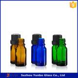 10ml 15ml 30ml cancelam o frasco de petróleo essencial azul verde ambarino do vidro da cor com inserção e o tampão inalterável para o petróleo essencial