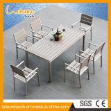 Swimmingpool-im Freienmöbel-Aluminiumherstellungs-Speisetisch-moderner Entwurfs-hölzernes Tisch-Plastikset