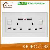 socket BRITÁNICO de los enchufes del USB de la pared del enchufe del doble 3pin de 250V 13A