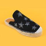 Pistoni delle scarpe di tela della pelle scamosciata del nero della stella di modo delle donne