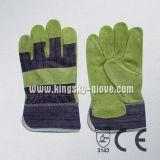 牛そぎ皮のセリウムの公認の完全なやし働く手袋(3090)