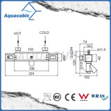 Ensemble de douche à barre carrée avec valve thermostatique avec bec verseur pour baignoire (AF4365-7)