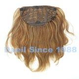 Clip nelle parti di estensione dei capelli nel colore chiaro con l'onda del corpo