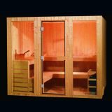 Nouvelle salle de sauna traditionnelle à vapeur, salle de sauna en bois massif pour 8 personnes, salle de sauna portable avec réchauffeur de sauna (SR118)