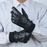 Men's Black Sheepskin Real Guantes de cuero fabricados en China Factory