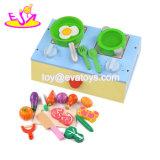 I nuovi bambini i più caldi fingono la stufa di legno del giocattolo del gioco con alimento W10d161