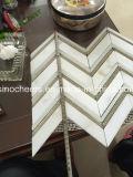 Azulejos de mármol de oro del PUNTO del mosaico W/Black de Calacatta Basketweave para la pared