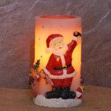 Vela encendida LED sin llama con pilas del pilar de la Navidad de la cera que oscila