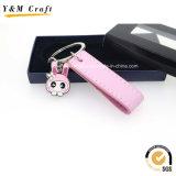 小売り市場Ym1059のためのかわいく、美しいピンクカラーPUの革キーホルダー