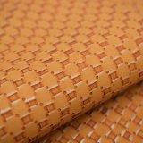 黄色いカラー篭織模様総合的なPU袋の革