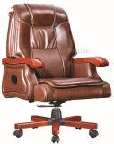 كلاسيكيّة [بروون] رفاهيّة جلد رئيس كرسي تثبيت مع قدم خشبيّة ([سز-وس167])