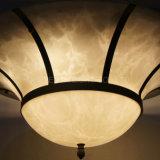 Bell rodada e Estrutura de cor de bronze Faux Alabastro lustre de sombra para a sala de banquetes