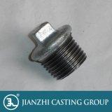 Galvanisierte schwarzes Quadrat-Kopf-Stecker-formbares Eisen-Rohrfittings 290 wulstige Stecker