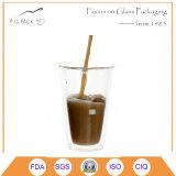 tazza di caffè di vetro doppia 450ml