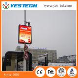 屋外ランプのポストのLED表示スクリーンを広告する街灯のビデオ