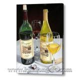 ワイン・ボトルのガラス静物画のキャンバスの油絵(KLSL-0011)
