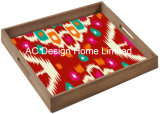 S/3 квадратных Custom Print кровать деревянный поднос с ручкой