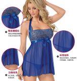 ملابس داخليّة مثير محدّد ثوب [نيغتور] ملبس داخليّ [سليبور]+[غ-سترينغ] [ببدولّ] حجم زرقاء فعليّة