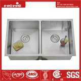 Handmade évier en acier, acier inoxydable rayon Sous Monter l'égalité Double vasque Handmade évier de cuisine