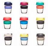 Austrtaliaの普及した旅行シリコーンのふたが付いているガラスコーヒー・マグの携帯用ガラスコップ