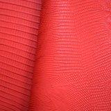 動物のトカゲ皮によって浮彫りにされる総合的なPUののど袋の靴革
