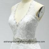 Cinghia in rilievo fragile l'abito di cerimonia nuziale aperto del merletto del vestito da cerimonia nuziale