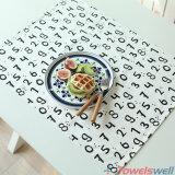 Toalla de té de la cocina del algodón de los números árabes del alfabeto inglés