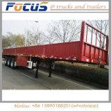 Flatbed Semi Aanhangwagen van drie Assen met Zijgevel/ZijRaad