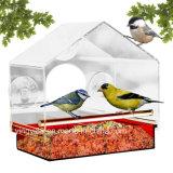 2018 Vidro Acrílico Bird Alimentador com bandeja removível e orifícios de drenagem e 4 copos de Sucção