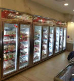 Le ventilateur de refroidissement porte en verre double porte verticale congélateur d'affichage