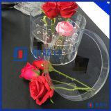 Contenitore acrilico rotondo di lusso di fiore con il coperchio