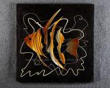 Résumé de poissons tropicaux Handmade Relievo en aluminium, métal / Décoration de l'art mural