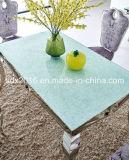 Table+Chairを食事し/家具/ステンレス鋼のダイニングテーブル+椅子/ガラス表のセットされた/ダイニングテーブル一定Sj807+Cy020を食事する