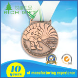 Medaille van de Sporten van de Toekenning van de Marathon van het Metaal van de douane de Lopende Gouden met Lint