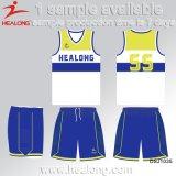Chemises chaudes de basket-ball de ligue d'université de sublimation de teinture d'habillement de vitesse de sports de vente de Healong