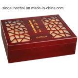 Rectángulo inacabada personalizado Caja de madera para Storagewooden con laca roja