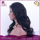 Negro natural gran Chino ondulado cabello virgen encaje frontal peluca