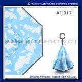 Переверните в перевернутом положении заднего хода Handfree зонтик с C Форма ручки рекламные зонтик